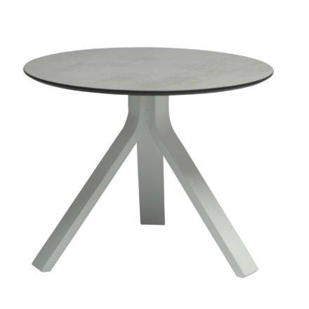"""Stern Beistelltisch """"Freddie"""", Gestell Aluminium weiß, Tischplatte HPL Zement hell, Ø 55 cm, Höhe 43 cm"""