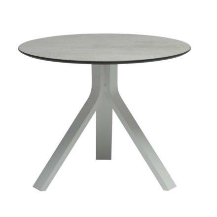 """Stern Beistelltisch """"Freddie"""", Gestell Aluminium weiß, Tischplatte HPL Zement hell, Ø 60 cm, Höhe 48 cm"""