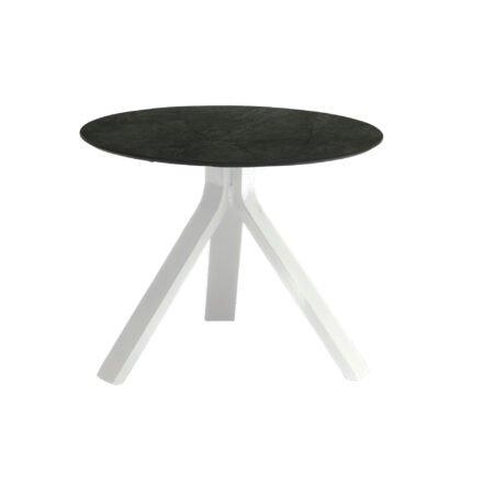 """Stern Beistelltisch """"Freddie"""", Gestell Aluminium weiß, Tischplatte HPL Dark Marble, Ø 55 cm, Höhe 43 cm"""