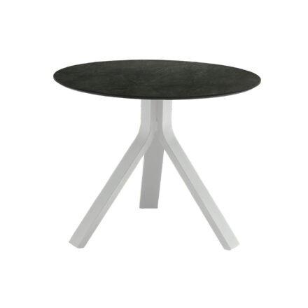 """Stern Beistelltisch """"Freddie"""", Gestell Aluminium weiß, Tischplatte HPL Dark Marble, Ø 60 cm, Höhe 48 cm"""