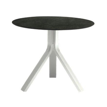 """Stern Beistelltisch """"Freddie"""", Gestell Aluminium weiß, Tischplatte HPL Dark Marble, Ø 65 cm, Höhe 53 cm"""