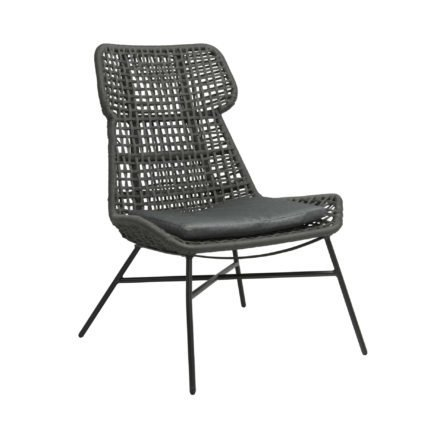 "Stern ""Greta"" Relaxsessel, Gestell Aluminium anthrazit, Synthetikfaser platin, Sitz-und Rückenkissen seidengrau"
