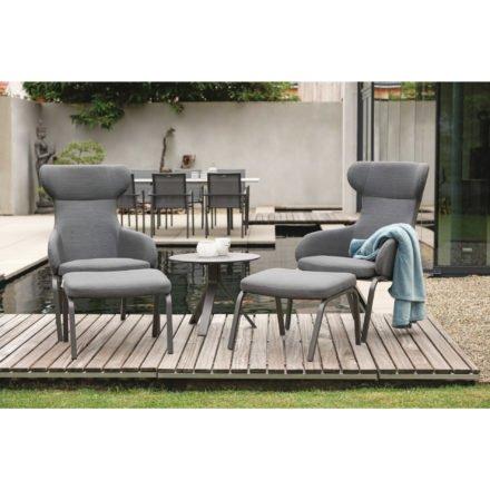 """Stern """"Stan"""" Ohrensessel mit Hocker, Gestell Aluminium anthrazit, Sitz- und Rückenfläche Textilgewebe karbon"""