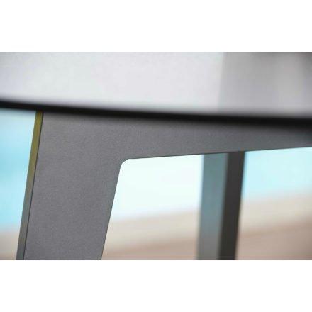 Stern Gartentisch rund 110cm, Aluminium graphit, Tischplatte HPL uni grau