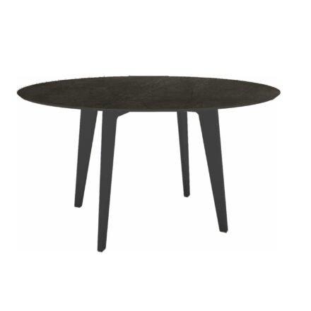Stern Gartentisch Ø 134 cm, Alu anthrazit, Tischplatte HPL Dark Marble