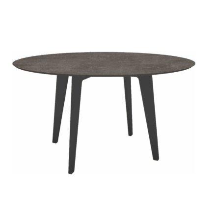 Stern Gartentisch Ø 134 cm, Alu anthrazit, Tischplatte HPL Metallic Grau
