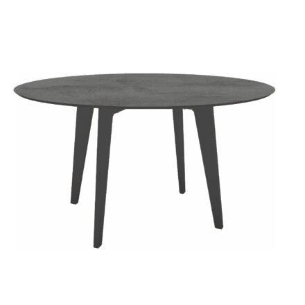 Stern Gartentisch Ø 134 cm, Alu anthrazit, Tischplatte HPL Zement