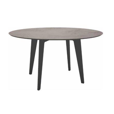 Stern Gartentisch Ø 134 cm, Alu anthrazit, Tischplatte HPL Zement hell