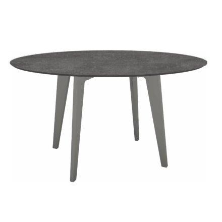 Stern Gartentisch Ø 134 cm, Alu graphit, Tischplatte HPL Metallic Grau
