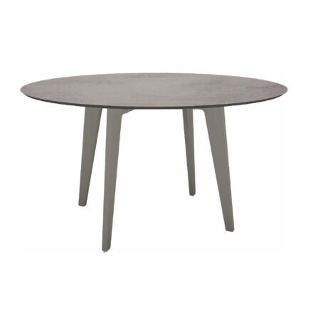 Stern Gartentisch Ø 134 cm, Alu graphit, Tischplatte HPL Zement hell