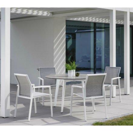 Stern Gartentisch rund 134cm, Aluminium weiß, Tischplatte HPL Zement hell