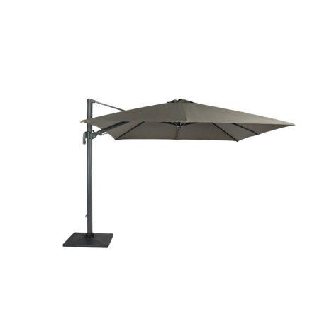 """Tierra Outdoor, Sonnenschirm """"Duraflex LED"""", Gestell Aluminium weiß, eckig 300x300 cm, Dessin darkgrey"""