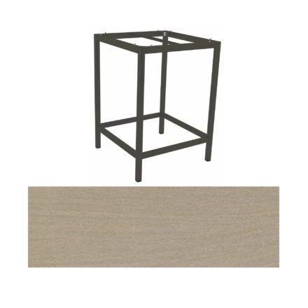 Stern Bartisch, Gestell Aluminium graphit, Tischplatte HPL Sahara