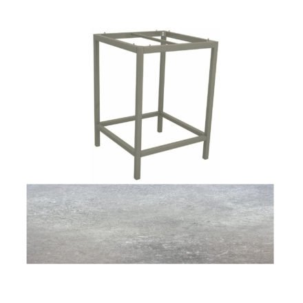 Stern Bartisch, Gestell Aluminium graphit, Tischplatte HPL Vintage stone