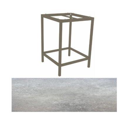 Stern Bartisch, Gestell Aluminium taupe, Tischplatte HPL Vintage stone