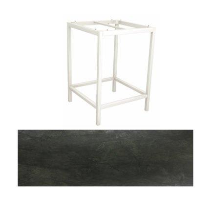Stern Bartisch, Gestell Aluminium weiß, Tischplatte HPL Dark Marble