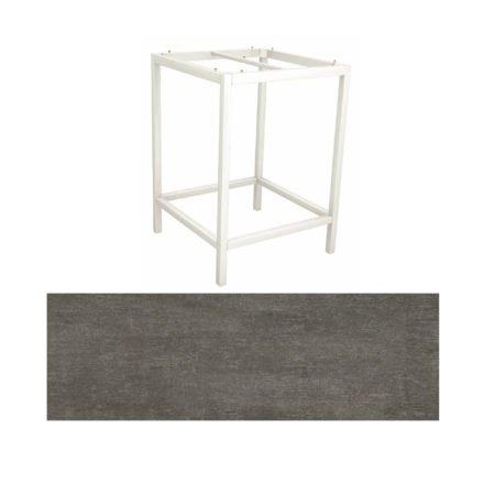Stern Bartisch, Gestell Aluminium weiß, Tischplatte HPL Metallic grau