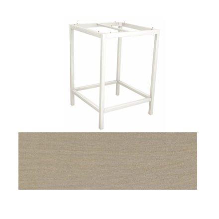 Stern Bartisch, Gestell Aluminium weiß, Tischplatte HPL Sahara