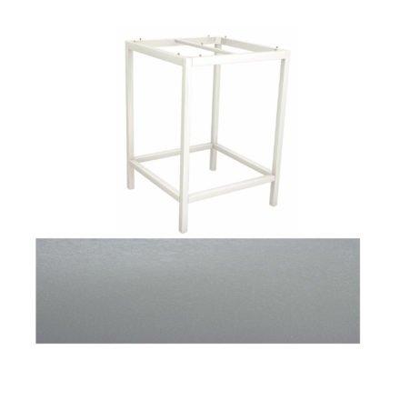 Stern Bartisch, Gestell Aluminium weiß, Tischplatte HPL Uni grau