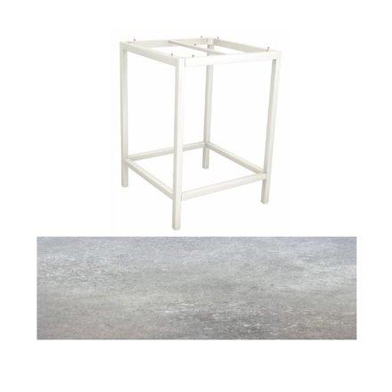 Stern Bartisch, Gestell Aluminium weiß, Tischplatte HPL Vintage stone