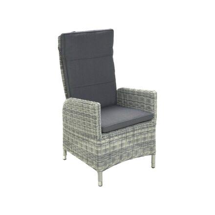 """Ploß """"Miami"""" Diningsessel, Aluminium mit Polyrattan halbrund grau/weiß-meliert, Sitz- und Rückenpolster aus Poyester, Farbe grau"""