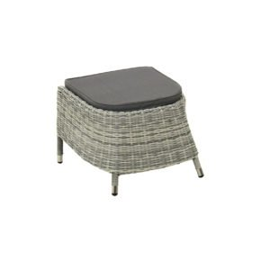 """Ploß """"Miami"""" Fußhocker zu Diningsessel, Aluminium mit Polyrattan halbrund grau/weiß-meliert, Sitzpolster aus Poyester, Farbe grau"""