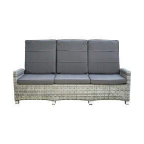 """Ploß """"Miami Comfort"""" Loungesofa 3-sitzig, Aluminium mit Polyrattan halbrund grau/weiß-meliert, Sitz- und Rückenpolster aus Poyester, Farbe grau"""