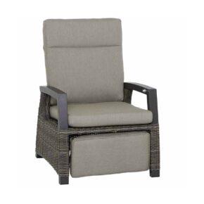 """Siena Garden Relax Loungesessel """"Corido"""", Gestell Aluminium anthrazit matt, Geflecht charcoal grey, Kissen taupe meliert"""