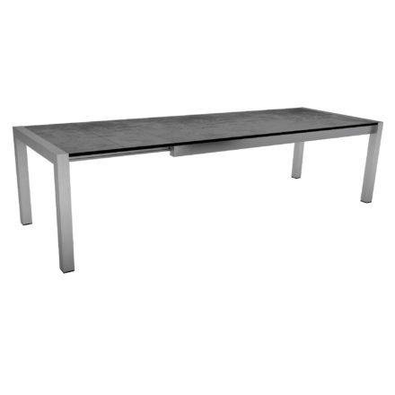 """Ausziehtisch """"Standard"""" von Stern, Gestell Edelstahl, Tischplatte HPL Zement, Größe: 214/294x100 cm"""