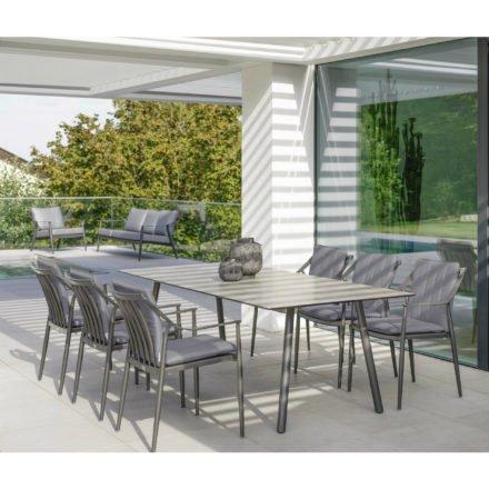 Stern Tischsystem Interno, Gestell Aluminium anthrazit, Tischplatte HPL Vintage stone, Größe: 220x100 cm