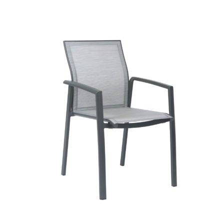 """Stern Stapelsessel """"Kari"""", Gestell Aluminium anthrazit, Textilgewebe silber"""