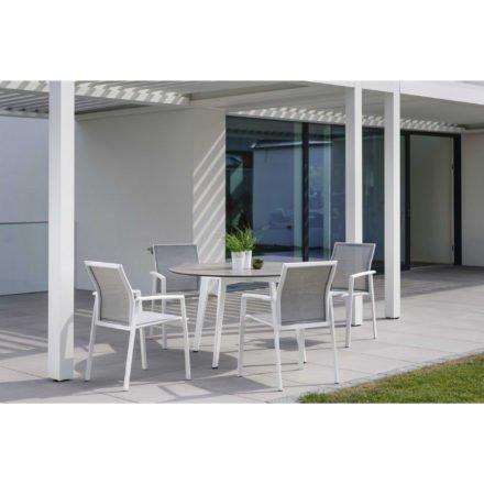 """Stern Stapelsessel """"Kari"""", Gestell Aluminium weiß, Textilgewebe silber mit Gartentisch rund, Gestell Aluminium weiß, Tischplatte HPL , Ø 134 cm"""