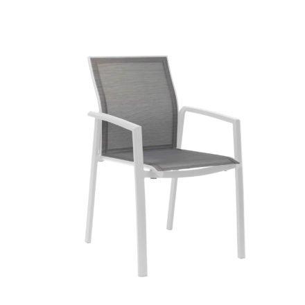 "Stern Stapelsessel ""Kari"", Gestell Aluminium weiß, Textilgewebe silber"