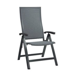"Stern Klappsessel ""Kari"", Gestell Aluminium anthrazit, Sitzfläche Textilgewebe karbon, Armlehnen Aluminium anthrazit"