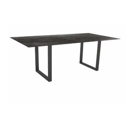 Stern Kufentisch, Maße: 200x100x73 cm, Gestell Aluminium anthrazit, Tischplatte HPL Dark Marble