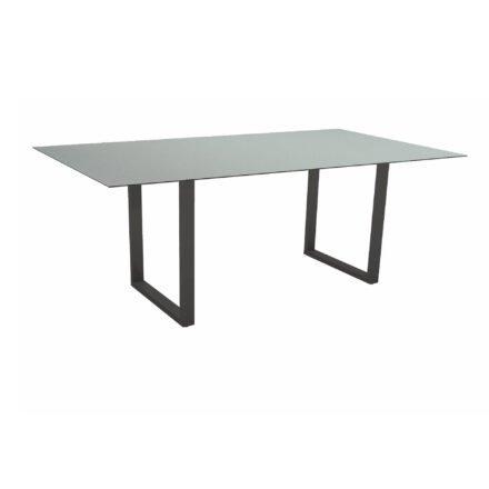 Stern Kufentisch, Maße: 200x100x73 cm, Gestell Aluminium anthrazit, Tischplatte HPL Nordic green