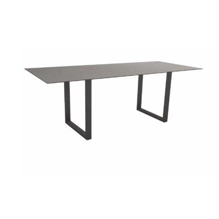 Stern Kufentisch, Maße: 200x100x73 cm, Gestell Aluminium anthrazit, Tischplatte HPL Uni grau