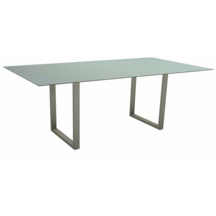Stern Kufentisch, Maße: 200x100x73 cm, Gestell Aluminium graphit, Tischplatte HPL Nordic green