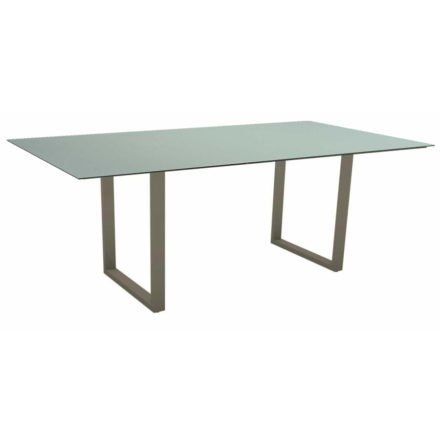Stern Kufentisch, Maße: 200x100x73 cm, Gestell Aluminium taupe, Tischplatte HPL Nordic green