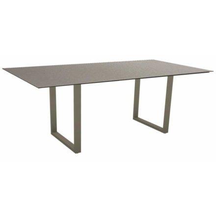 Stern Kufentisch, Maße: 200x100x73 cm, Gestell Aluminium taupe, Tischplatte HPL Uni grau