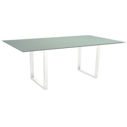 Stern Kufentisch, Maße: 200x100x73 cm, Gestell Aluminium weiß, Tischplatte HPL Nordic green