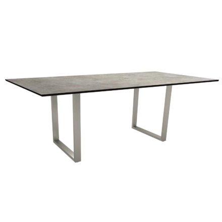 Stern Kufentisch, Gestell Edelstahl, Tischplatte HPL Metallic grau, Tischgröße: 200x100 cm