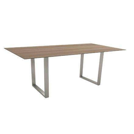 Stern Kufentisch, Gestell Edelstahl, Tischplatte HPL Tundra braun, Tischgröße: 200x100 cm