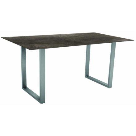 Stern Kufentisch, Gestell Edelstahl, Tischplatte HPL Dark Marble, Tischgröße: 160x90 cm