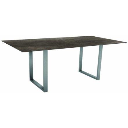 Stern Kufentisch, Gestell Edelstahl, Tischplatte HPL Dark Marble, Tischgröße: 200x100 cm