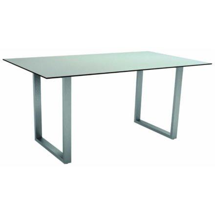 Stern Kufentisch, Gestell Edelstahl, Tischplatte HPL Nordic green, Tischgröße: 160x90 cm