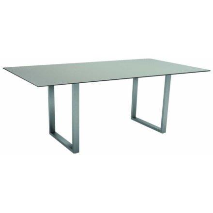 Stern Kufentisch, Gestell Edelstahl, Tischplatte HPL Nordic green, Tischgröße: 200x100 cm