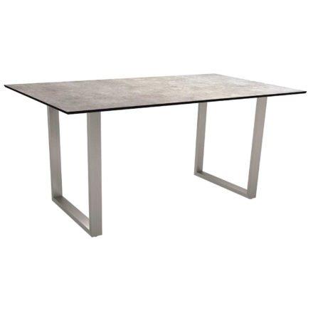 Stern Kufentisch, Gestell Edelstahl, Tischplatte HPL Metallic grau, Tischgröße: 160x90 cm