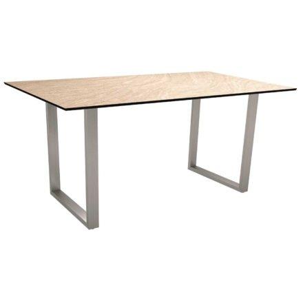 Stern Kufentisch, Gestell Edelstahl, Tischplatte HPL Sahara, Tischgröße: 160x90 cm