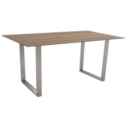 Stern Kufentisch, Gestell Edelstahl, Tischplatte HPL Tundra braun, Tischgröße: 160x90 cm